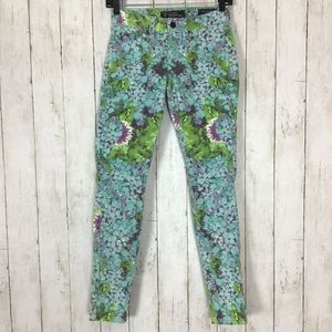 Guess Brittney Skinny Jeans Floral Ankle Cropped